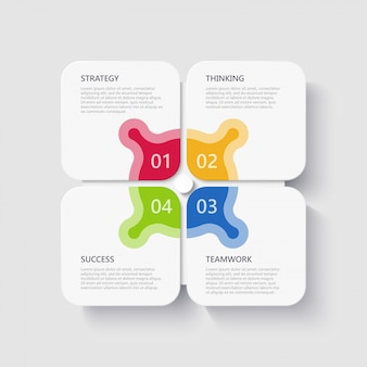 Modern 3d infographic template with 4 steps for success