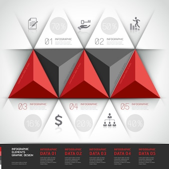Modern 3d, infographics business triangle.