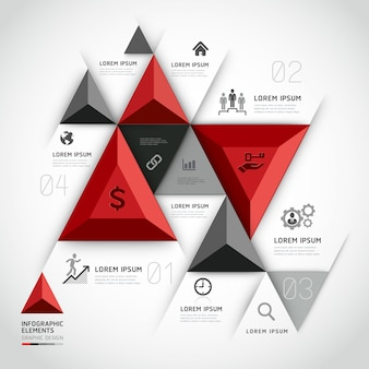 Modern 3d infographics business triangle.