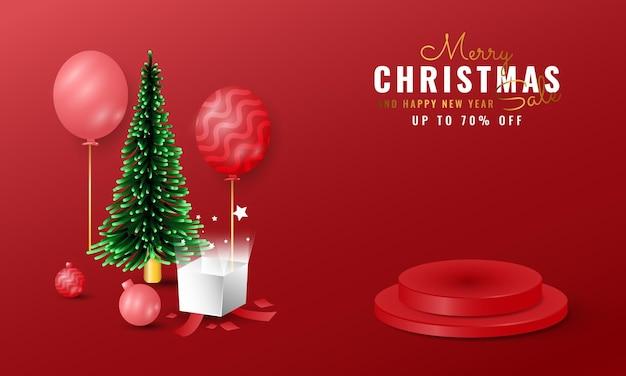 モダンな3dメリークリスマスと新年あけましておめでとうございますバナー
