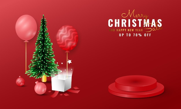 Modern 3d merry christmas and happy new year banner