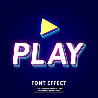 Modern 3d neon game title text effect