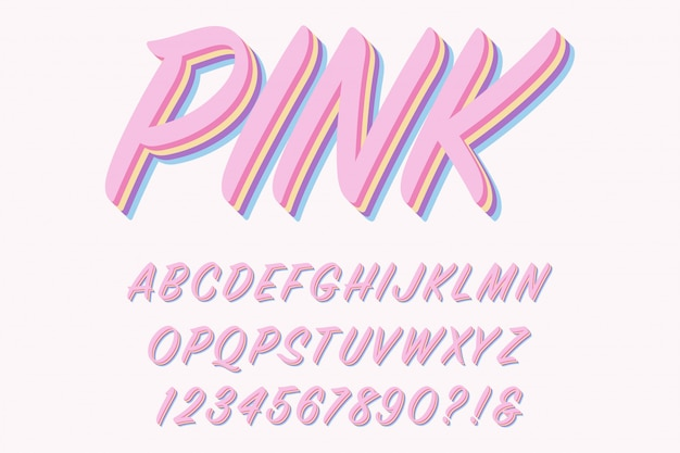 Modern  3d pink alphabet letters, numbers and symbols.