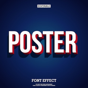Modern 3d poster and banner tittle text with shadow and dark blue background