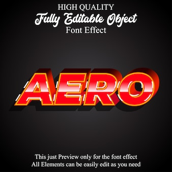 Modern 3d red aero text style editable font effect