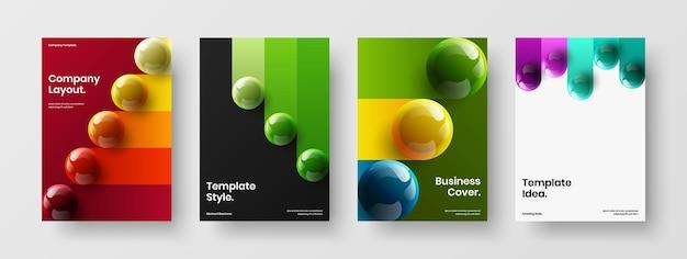 Modern 3d spheres brochure illustration set