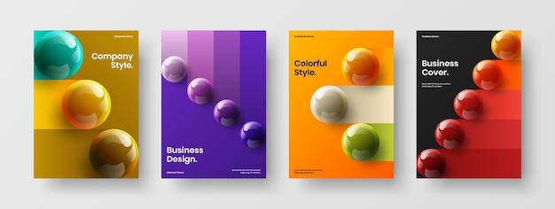 Набор концептуальных плакатов с современными 3d сферами
