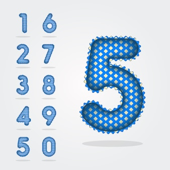 Modern 3d style balloons digits numbers collection 0-9