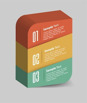 Modern 3d text box template, banner infographics