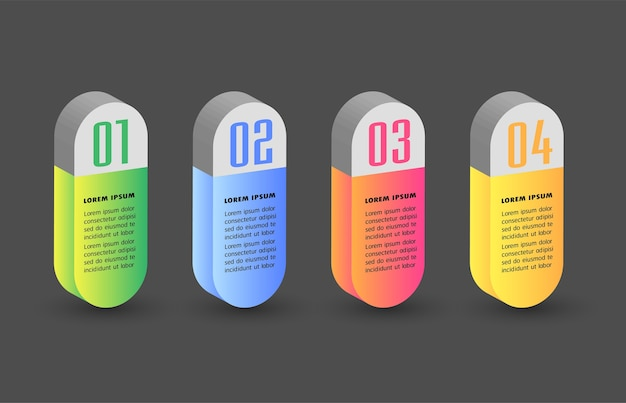 Modern 3d text box template, infographics