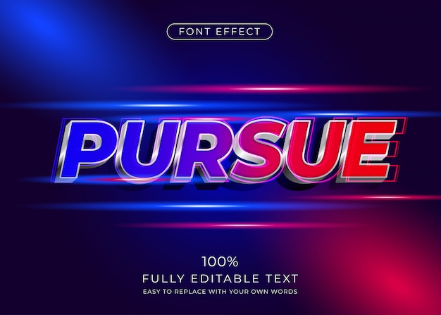 Modern 3d text effect with movement theme. editable font style