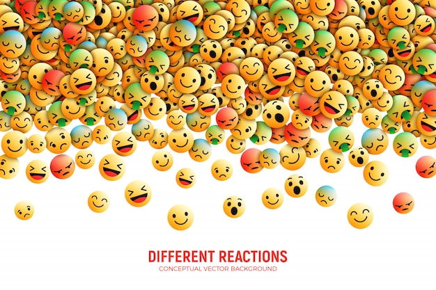 Modern 3d vector facebook emoji conceptual art illustration