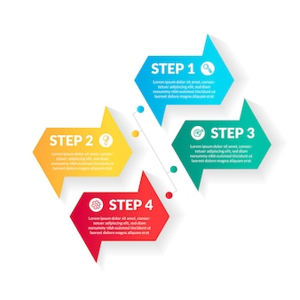 Modern 4 step colorful gradient infographic. perfect for presentation, process diagram, workflow, and banner