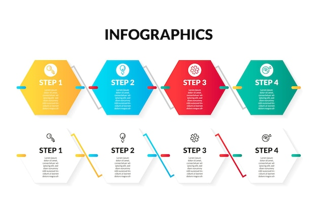 Modern 4 step or option colorful and white hexagonal infographic. perfect for presentation, process diagram, workflow, and banner