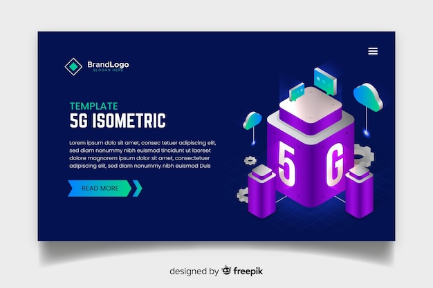 Modern 5g landing page in isometric design