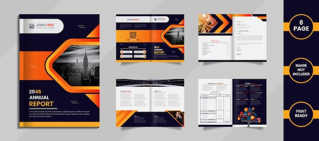 Modern 8 page annual report design with creative shapes and data on a white background.