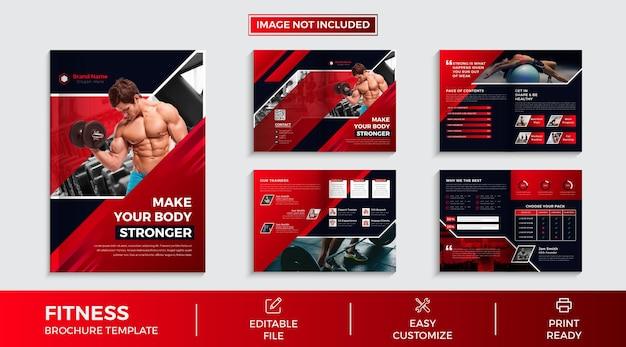 Современная 8-страничная коллекция брошюр фитнес-зала с абстрактными формами и данными премиум векторы