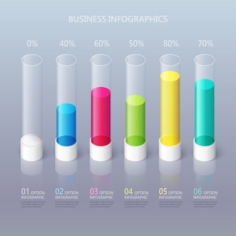 Modern abstract 3d cylindrical infographic template with six steps options