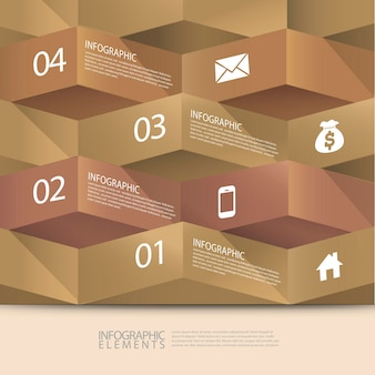 Modern abstract 3d origami banner infographic elements
