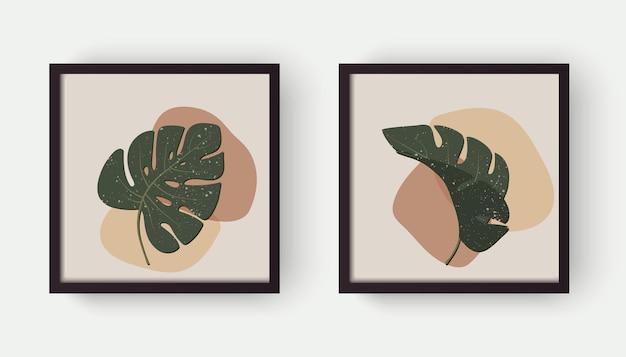 기하학적 유기적 모양과 잎 몬스테라가 있는 현대적인 추상 미학적 배경. 보헤미안 스타일의 벽 장식. 표지, 벽지, 카드, 소셜 미디어, 실내 장식을 위한 세기 중반 벡터 인쇄