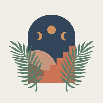 Modern abstract aesthetic print with landscape stairs and moon phase on light background
