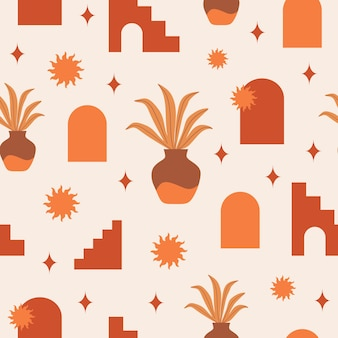 Modern abstract aesthetic seamless pattern with geometric architecture elements in boho style
