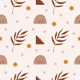 Modern abstract aesthetic seamless pattern with geometric architecture elements plants and rainbow