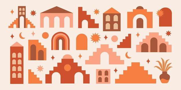 自由奔放に生きるスタイルのモダンな抽象的な美学セットの幾何学的な建築要素