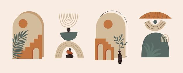 幾何学的なバランスの現代の抽象的な美的セットは、階段や植物を形作ります。自由奔放に生きるスタイルの壁の装飾