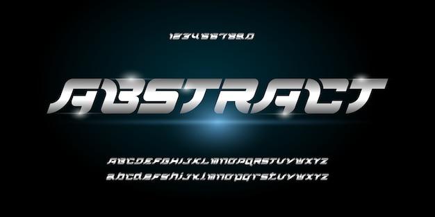 Современный абстрактный шрифт алфавита. типография шрифты городского стиля для технологий, цифровых, фильмов, логотипов