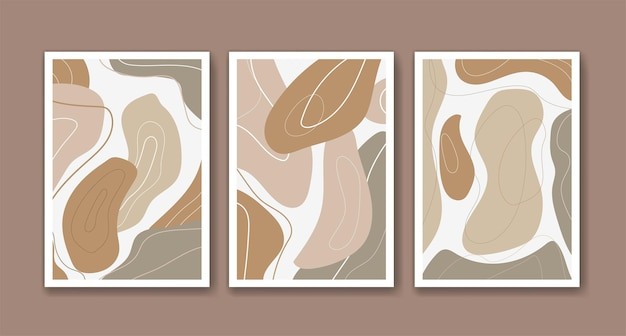 Modern abstract art in beige color