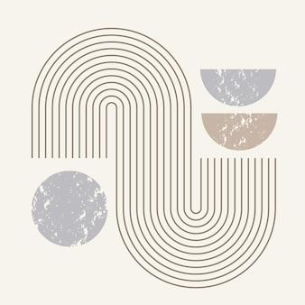 바우하우스 스타일의 기하학적 선과 모양의 현대 추상 미술 구성