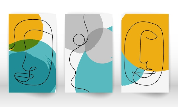 Modern abstract art face. set of minimal shapes and lines. home decor design. hand drawn watercolor effect painting shapes and line art faces. contemporary design.