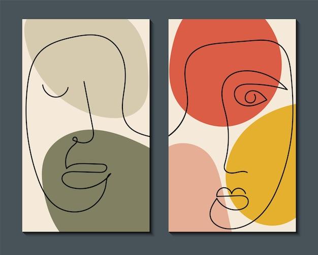 현대 추상 예술 얼굴. 최소한의 모양과 선으로 추상적 인 배경 세트.