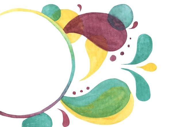 現代の抽象的な背景。抽象的な明るい色のドロップとあなたのテキストのためのきれいな場所。水彩手描きイラスト。