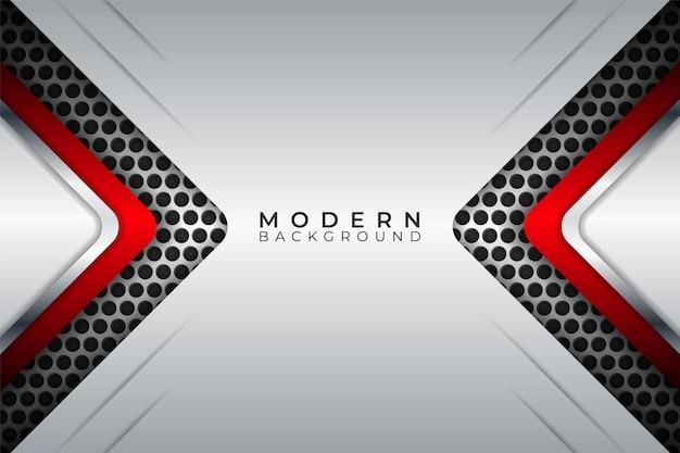 Современный абстрактный фон диагональ металлической блестящей красной стрелкой перекрывается белый слой