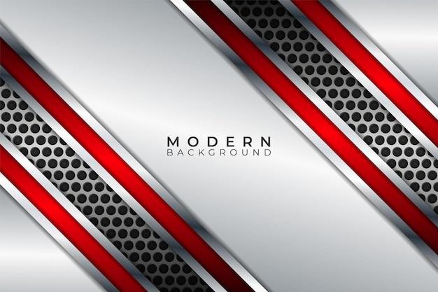 Современный абстрактный фон диагональ металлический блестящий красный перекрывающийся белый слой