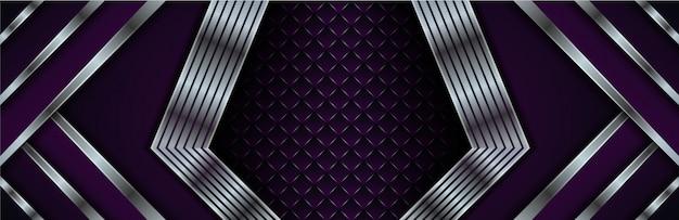 Современный абстрактный фон. градиент фиолетового цвета. квадратный узор в центре. градиент серебра по диагонали