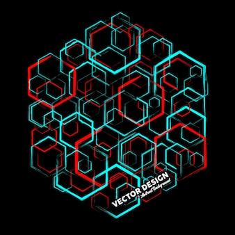 Современный абстрактный фон в синих и красных тонах из случайных шестиугольников