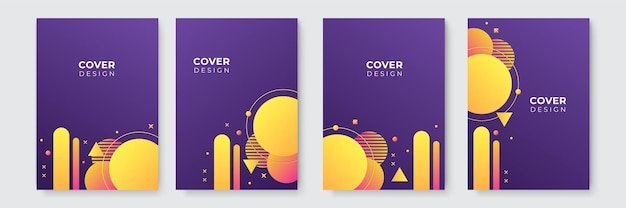 Modern abstract background. purple and yellow abstract vector business cover template. business minimal background with halftone circle frame. gradient background.