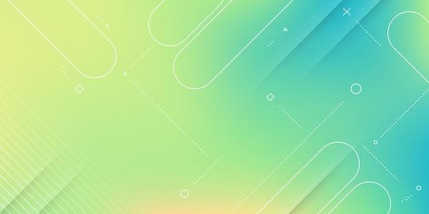 ぼかし効果、柔らかい虹色とメンフィス要素を持つモダンな抽象的な背景。