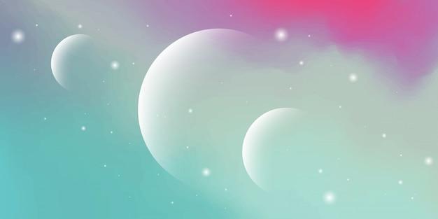 曇り空の要素と太陽系デジタル技術をテーマにしたカラフルな惑星パステルグラデーションのモダンな抽象的な背景。