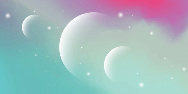 Modern abstract background with cloudy sky elements and colorful planets pastel gradation with the theme of the solar system digital technology.