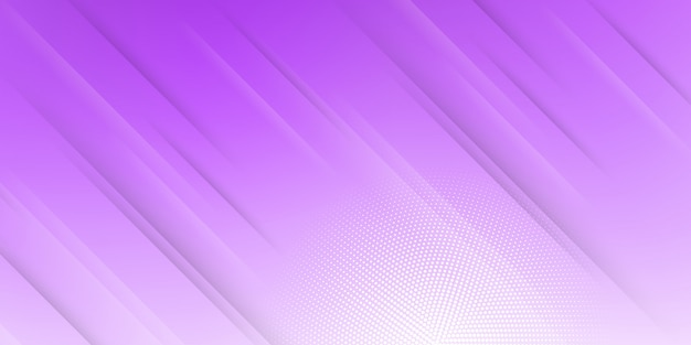 斜めの線またはストライプとハーフトーンの要素とデジタル技術をテーマにした紫のパステルグラデーションのモダンな抽象的な背景。