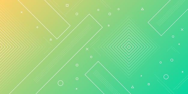 Современная абстрактная предпосылка с элементами мемфиса в желтых и зеленых градиентах и ретро тематическая для плакатов, знамен и целевых страниц вебсайта.