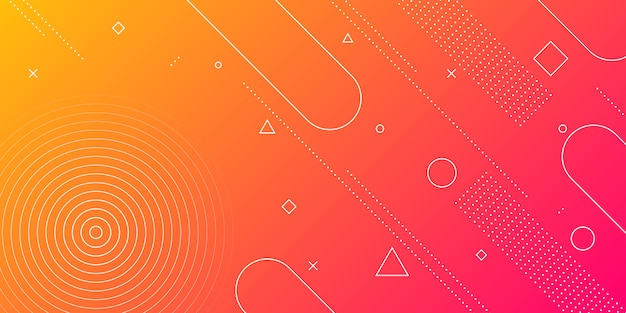 Modern abstract background with memphis elements in red and orange gradients and retro themed