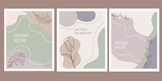 最小限の幾何学的形状と植物の植物要素を持つモダンな抽象的な背景