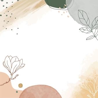 ポスター、バナー、招待状、ソーシャルメディアの投稿のためのミニマリズムの手描きの花とモダンな抽象的な背景