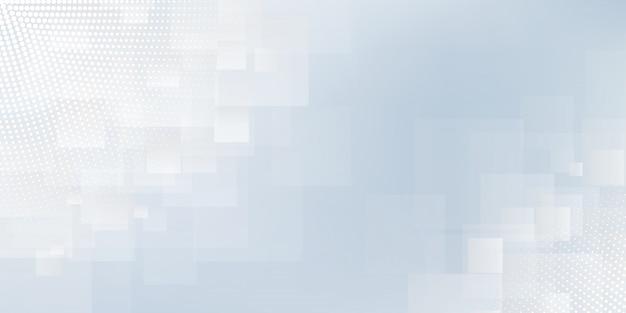 正方形のラインまたはストライプとハーフトーンの要素とデジタル技術をテーマにしたホワイトブルーパステルグラデーションのモダンな抽象的な背景。