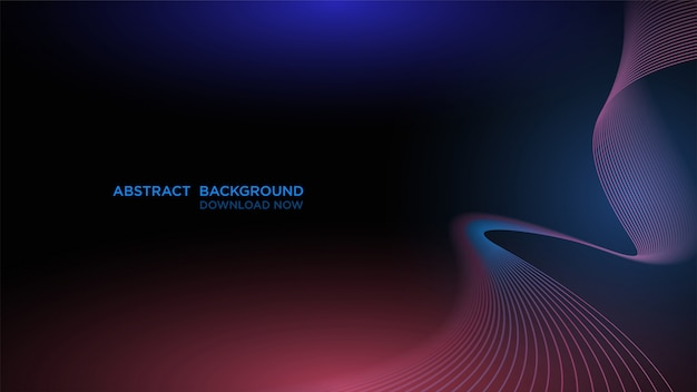 Modern abstract background with transparent blue wave on dark